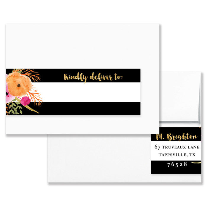 envelope wrap address label floral black white stripe digibuddha