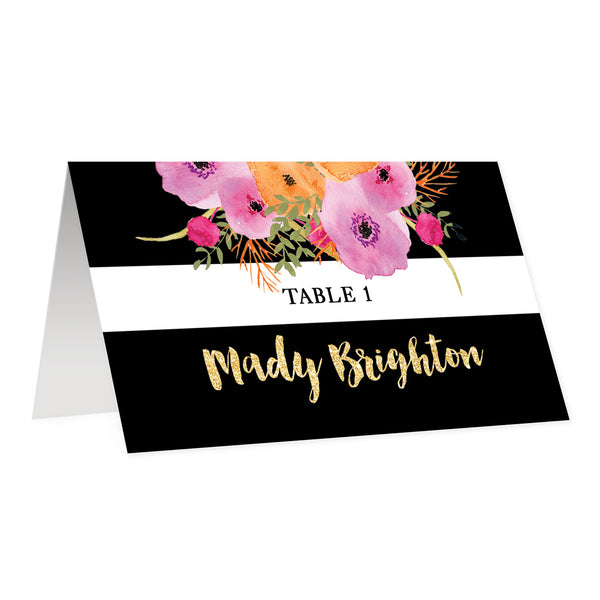 Black + White Striped Place Cards with Pink Flowers | Mady