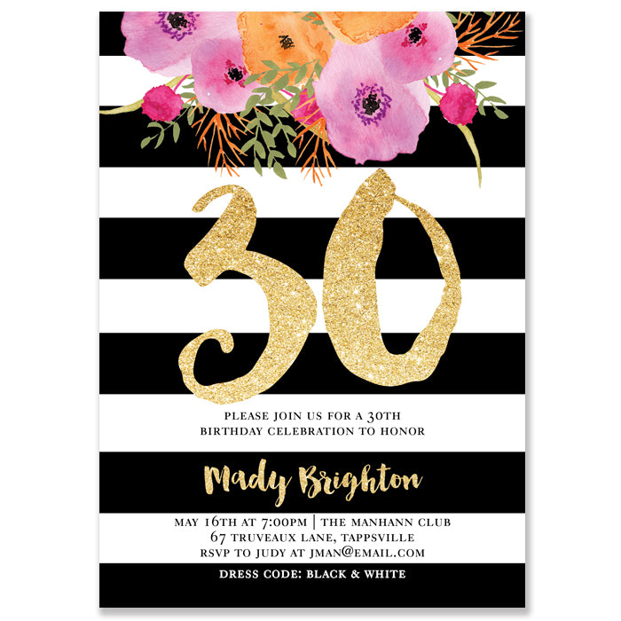 Black white 30th birthday party invitation digibuddha mady black white stripe 30th birthday party invitation filmwisefo