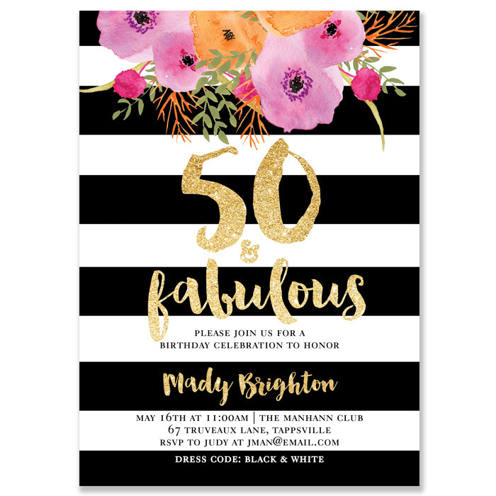 Mady Black White Stripe 50th Birthday Party Invitation