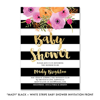 """Mady"" Black + White Stripe Baby Shower Invitation"
