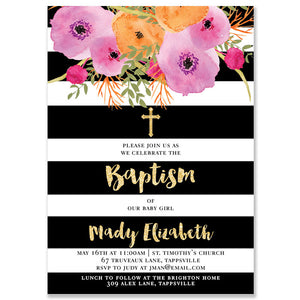 """Mady"" Black + White Stripe Baptism Invitation"