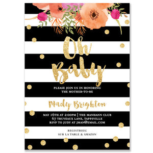 """Mady"" Oh Baby Coral Baby Shower Invitation"