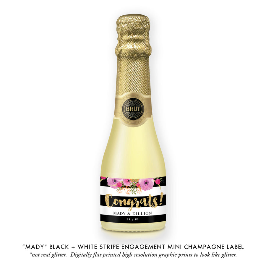 """Mady"" Floral + Black Stripe Engagement Champagne Labels"