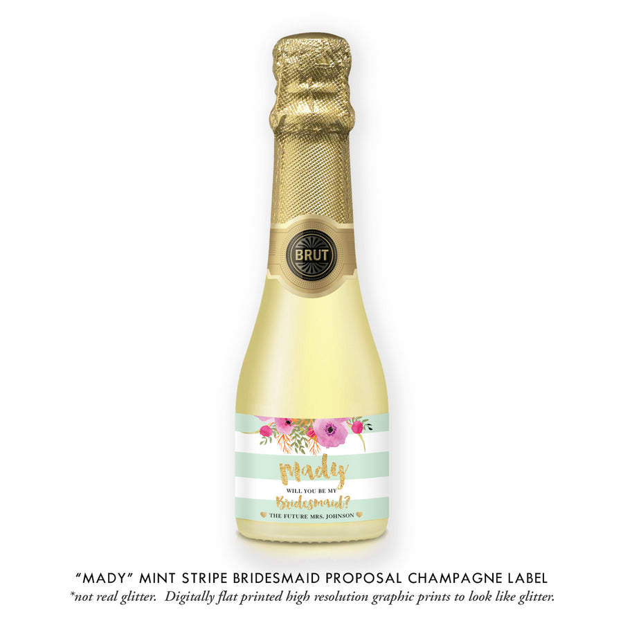 """Mady"" Floral + Mint Stripe Bridesmaid Proposal Champagne Labels"