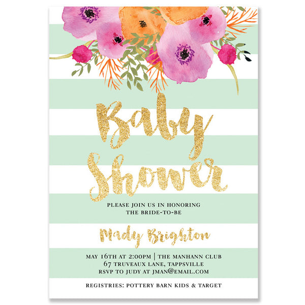 """Mady"" Mint + White Stripe Baby Shower Invitation"