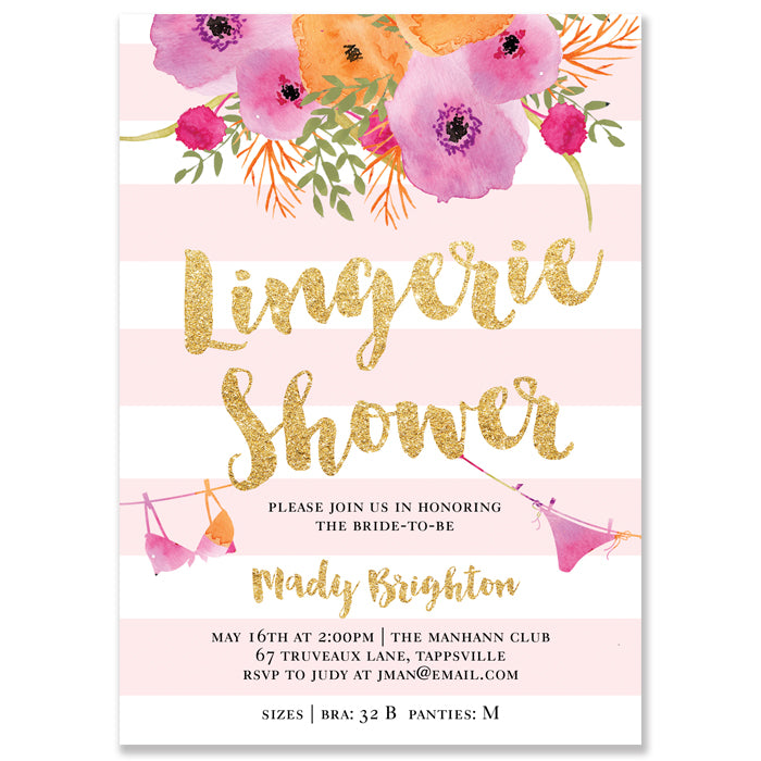 Pink Stripes Lingerie Shower Invitation