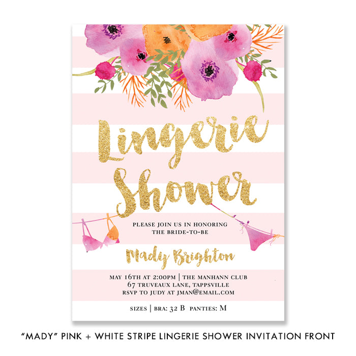"""Mady"" Pink + White Stripe Lingerie Shower Invitation"