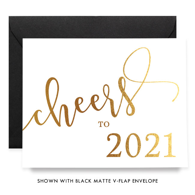 Cheers to 2019 Gold Foil Boxed Holiday Cards | Marley