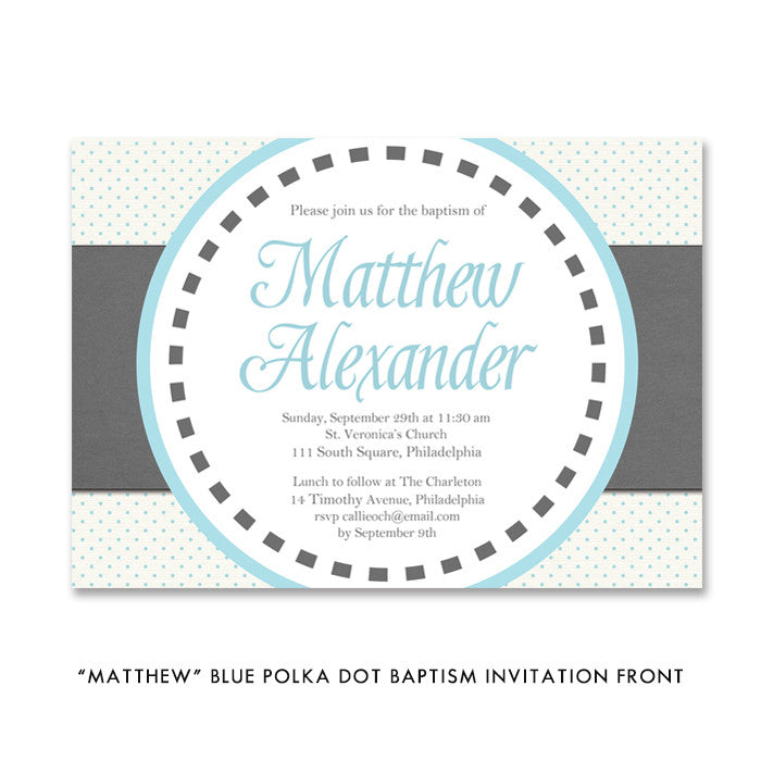 """Matthew"" Blue Polka Dot Baptism Invitation"