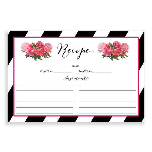 Floral + Stripe Recipe Cards |  Meadow