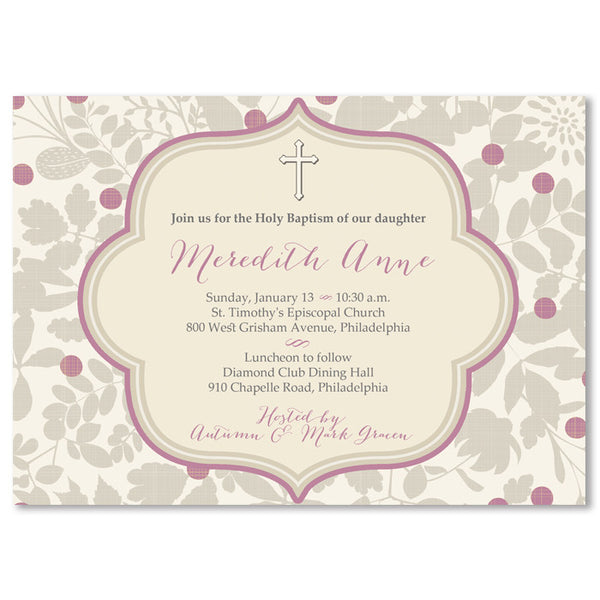 """Meredith"" Lavender + Gray Baptism Invitation"