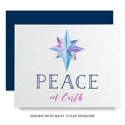 Peace On Earth Navy Boxed Holiday Cards | Merrill