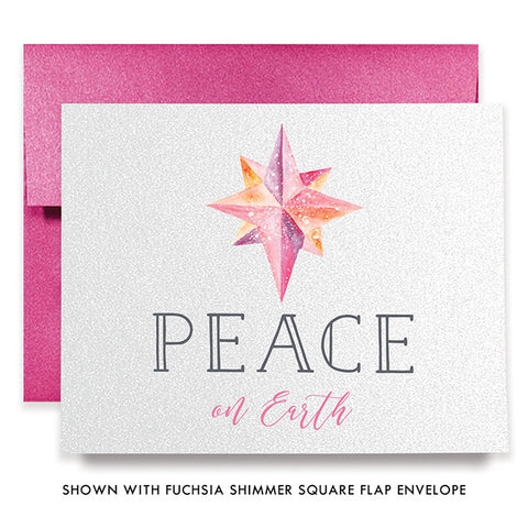 Peace On Earth Pink Boxed Holiday Cards | Merrill