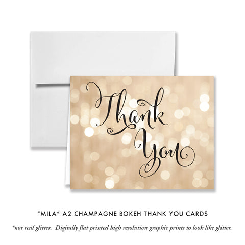"""Mila"" Champagne Bokeh Thank You Card"