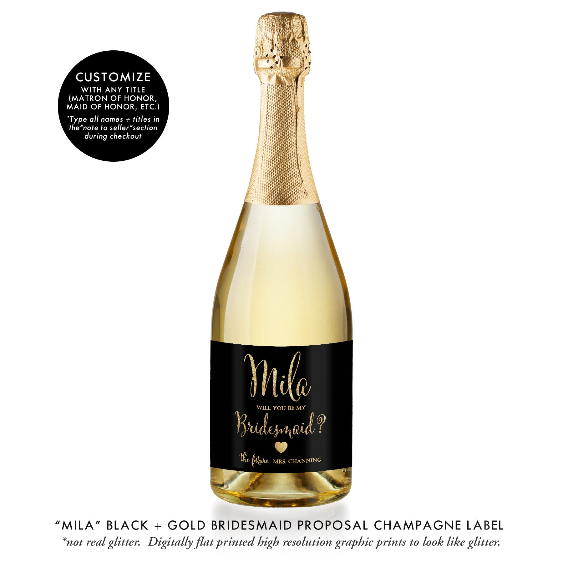 """Mila"" Black + Gold Bridesmaid Proposal Champagne Labels"