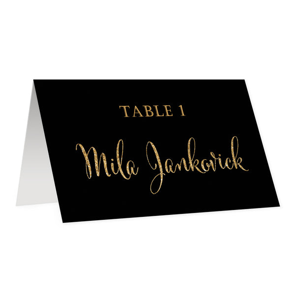 Black + Gold Place Cards | Mila