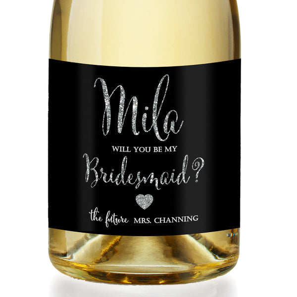 """Mila"" Black + Silver Bridesmaid Proposal Champagne Labels"