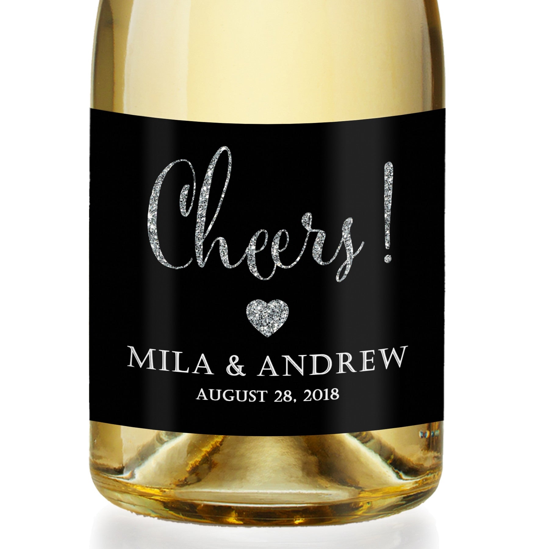 """Mila"" Black + Silver Engagement Champagne Labels"
