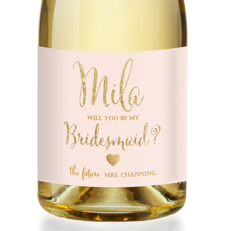 """Mila"" Blush + Gold Bridesmaid Proposal Champagne Labels"