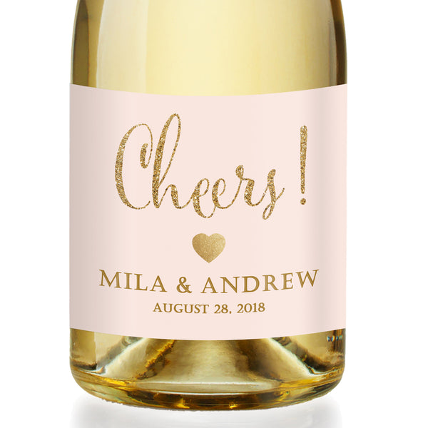 """Mila"" Blush + Gold Engagement Champagne Labels"