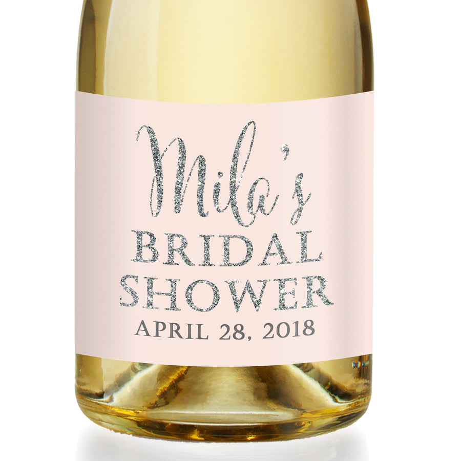 """Mila"" Blush + Silver Bridal Shower Champagne Labels"