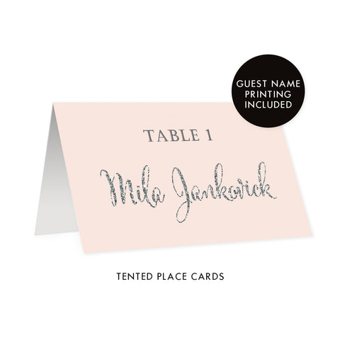 Blush + Silver Place Cards | Mila