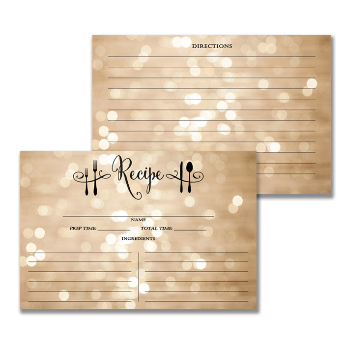 Champagne Bokeh Recipe Cards Gift Set |  Mila