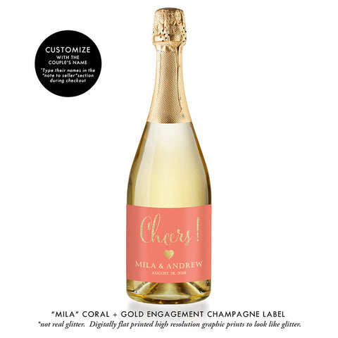"""Mila"" Coral + Gold Engagement Champagne Labels"