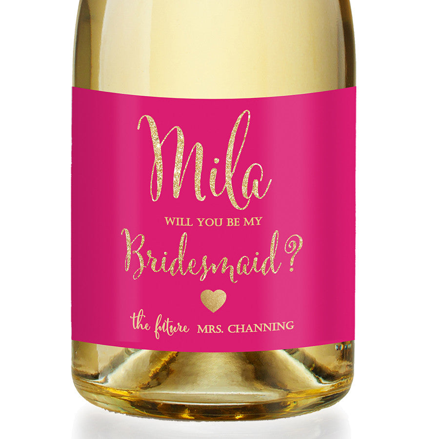 """Mila"" Hot Pink + Gold Bridesmaid Proposal Champagne Labels"