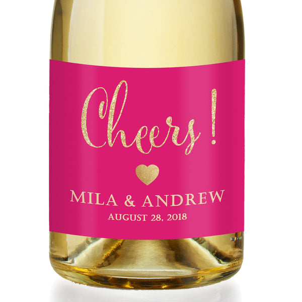 """Mila"" Hot Pink + Gold Engagement Champagne Labels"