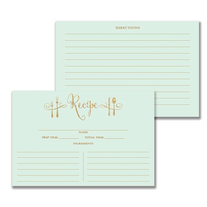 Mint + Gold Glitter Recipe Cards Gift Set |  Mila