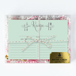 Mint + Silver Glitter Recipe Cards Gift Set |  Mila