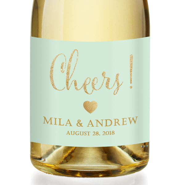 """Mila"" Mint + Gold Engagement Champagne Labels"