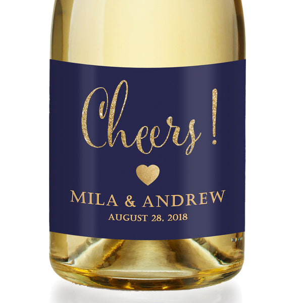 """Mila"" Navy + Gold Engagement Champagne Labels"