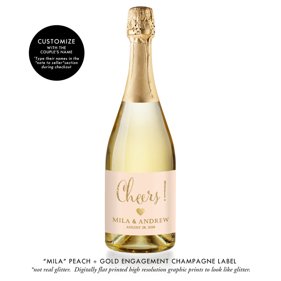 """Mila"" Peach + Gold Engagement Champagne Labels"