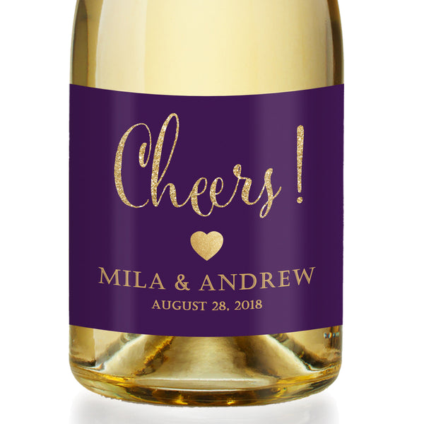 """Mila"" Plum + Gold Engagement Champagne Labels"