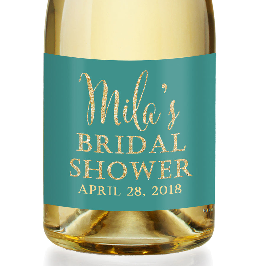 """Mila"" Turquoise + Gold Bridal Shower Champagne Labels"
