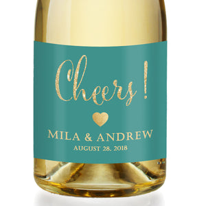 """Mila"" Turquoise + Gold Engagement Champagne Labels"