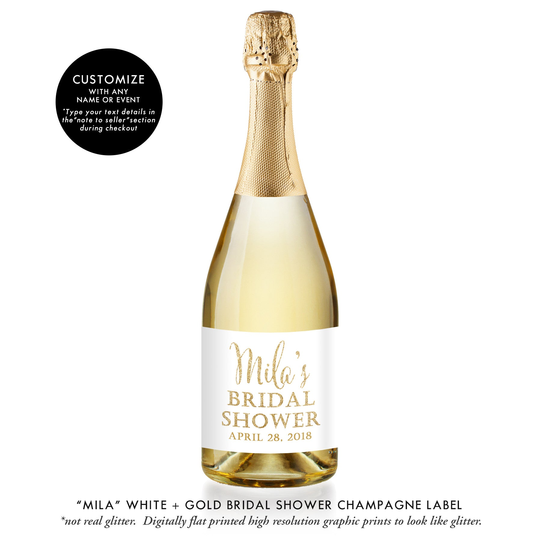 """Mila"" White + Gold Bridal Shower Champagne Labels"