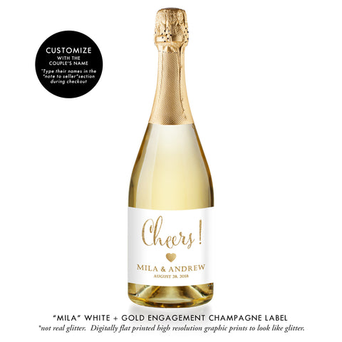 """Mila"" White + Gold Engagement Champagne Labels"