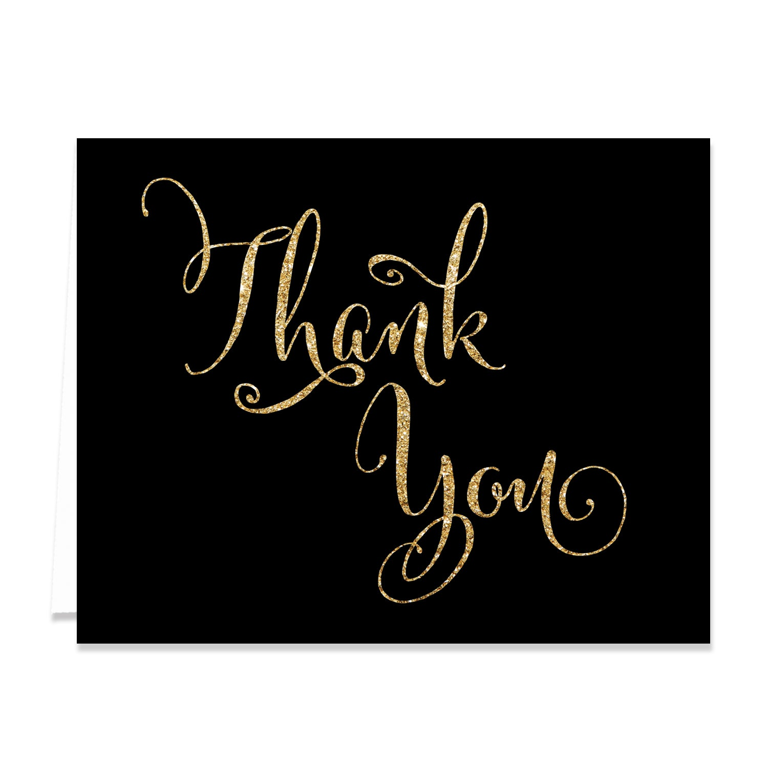 """Mila"" Black + Gold Thank You Card"