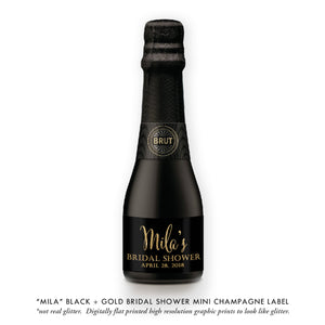 """Mila"" Black + Gold Bridal Shower Champagne Labels"