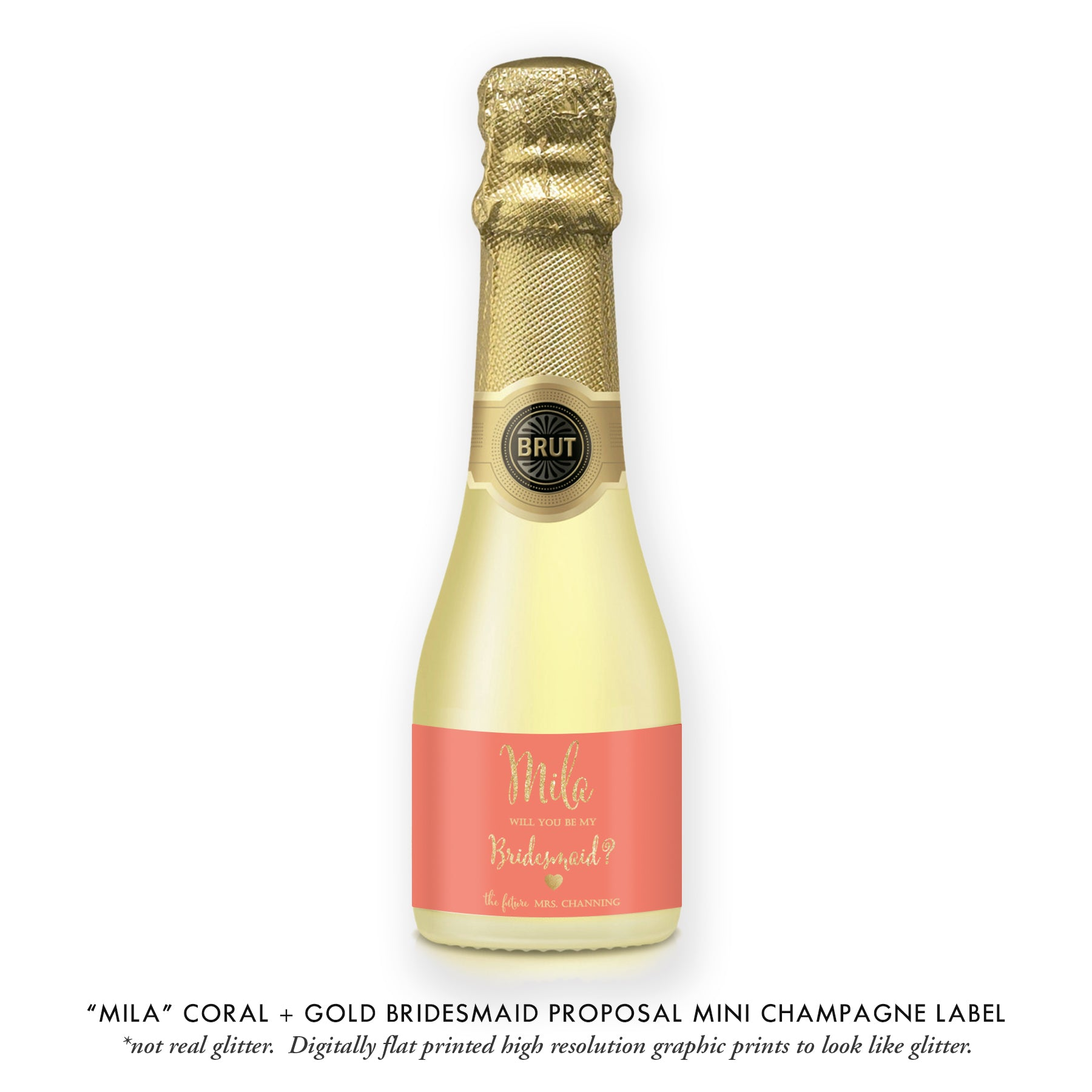 """Mila"" Coral + Gold Bridesmaid Proposal Champagne Labels"