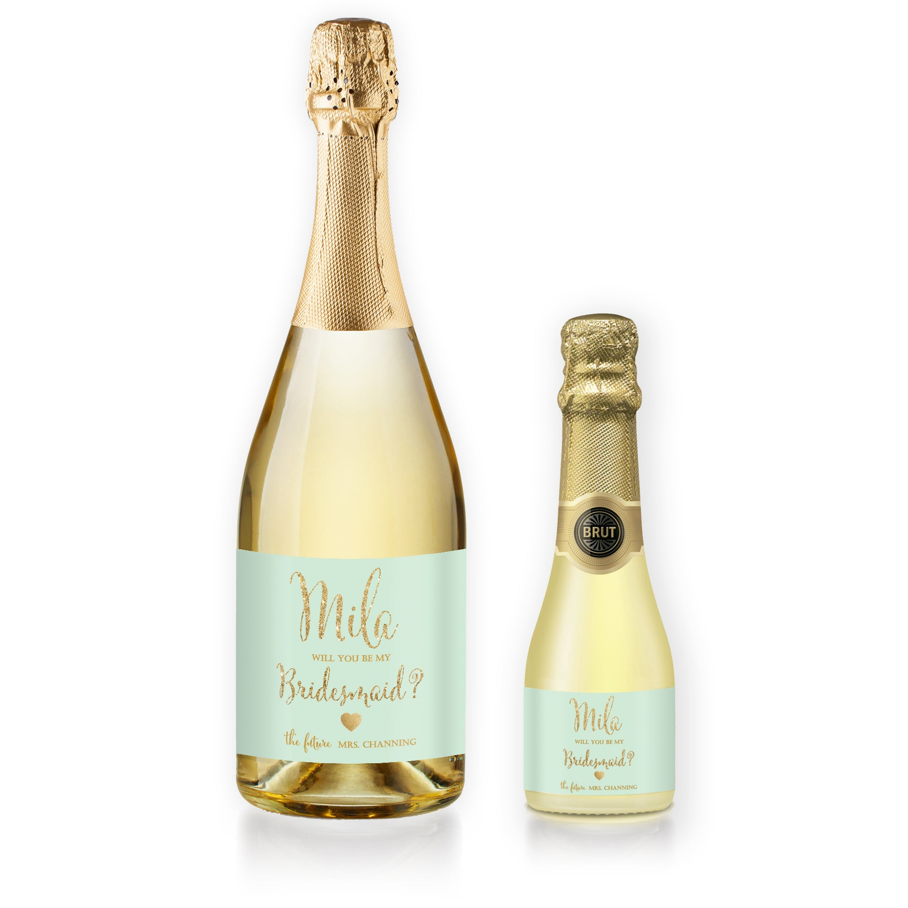 """Mila"" Mint + Gold Bridesmaid Proposal Champagne Labels"