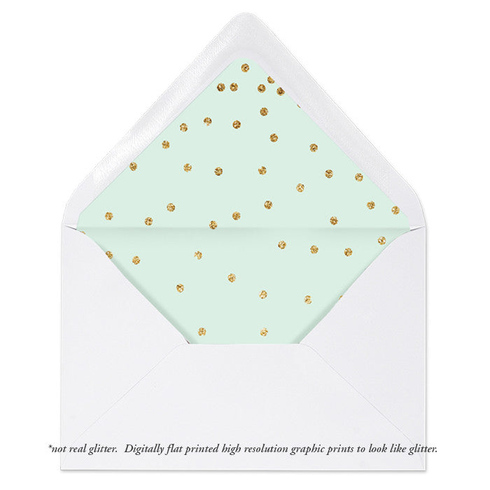 """Mila"" Mint + Gold Envelope Liners"