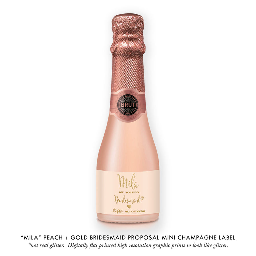 """Mila"" Peach + Gold Bridesmaid Proposal Champagne Labels"