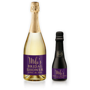 """Mila"" Plum + Gold Bridal Shower Champagne Labels"