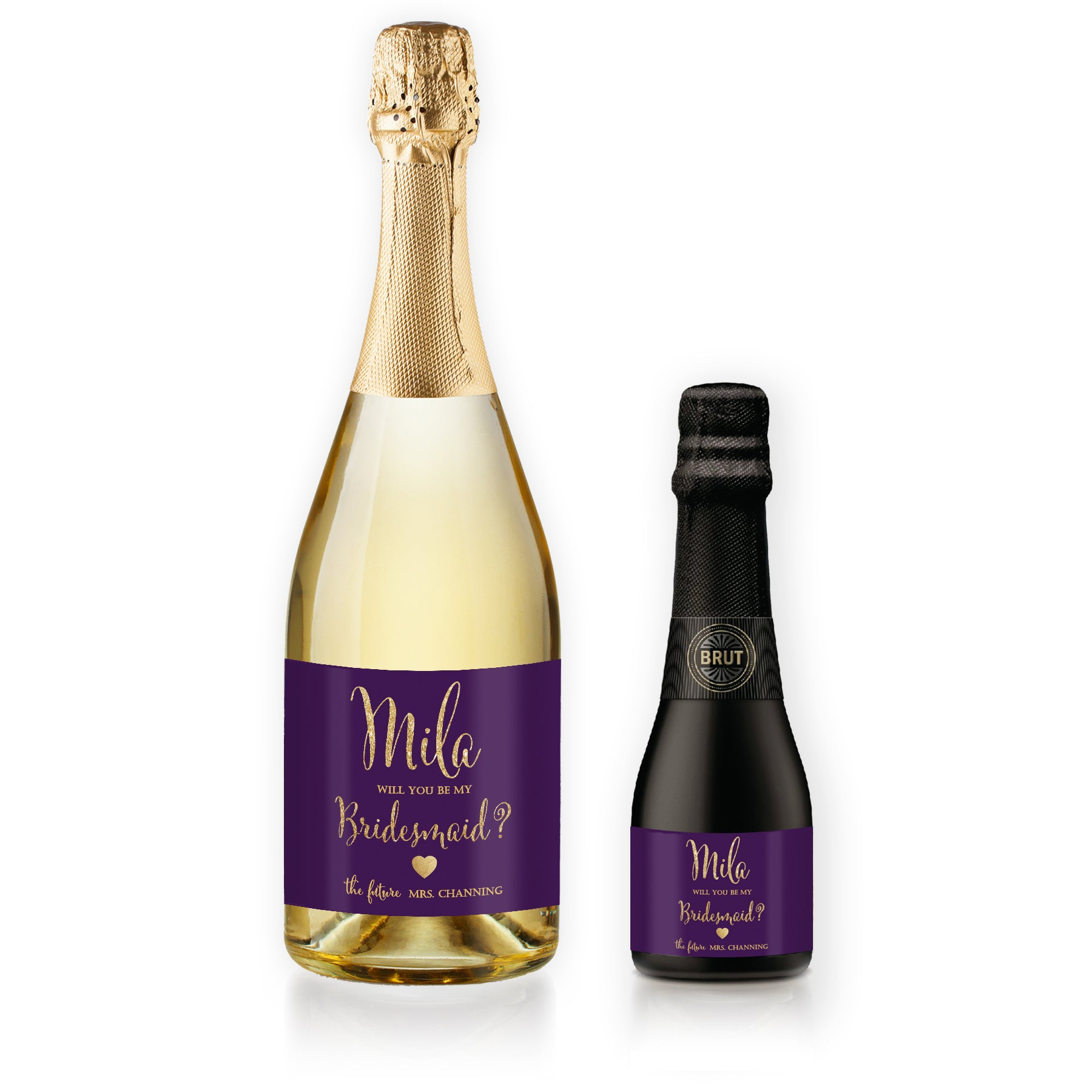 """Mila"" Plum + Gold Bridesmaid Proposal Champagne Labels"