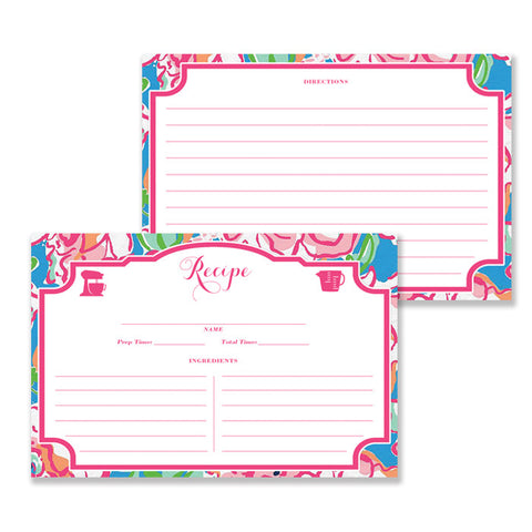 Preppy Pink & Blue Recipe Cards  |  Millie